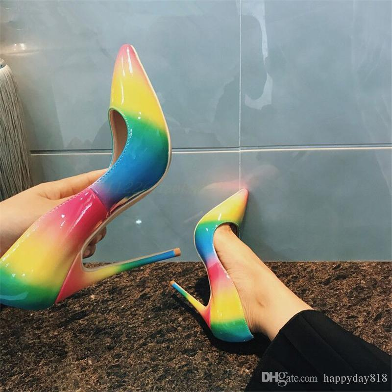 5c0f1600dc Free shipping fee women pumps rainbow multi color patent leather pointed  toe high heels bride wedding shoes pumps real photo 120mm 100mm