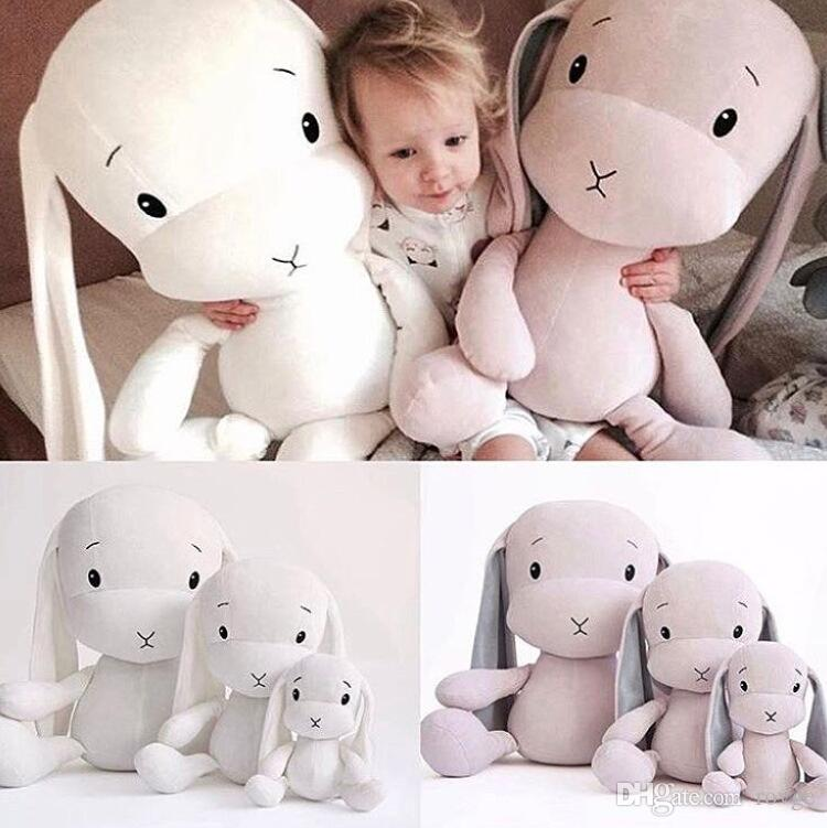 Nordic style INS new plush toy LUCKY pink cute gray rabbit stretch cloth doll children sleeping doll gifts