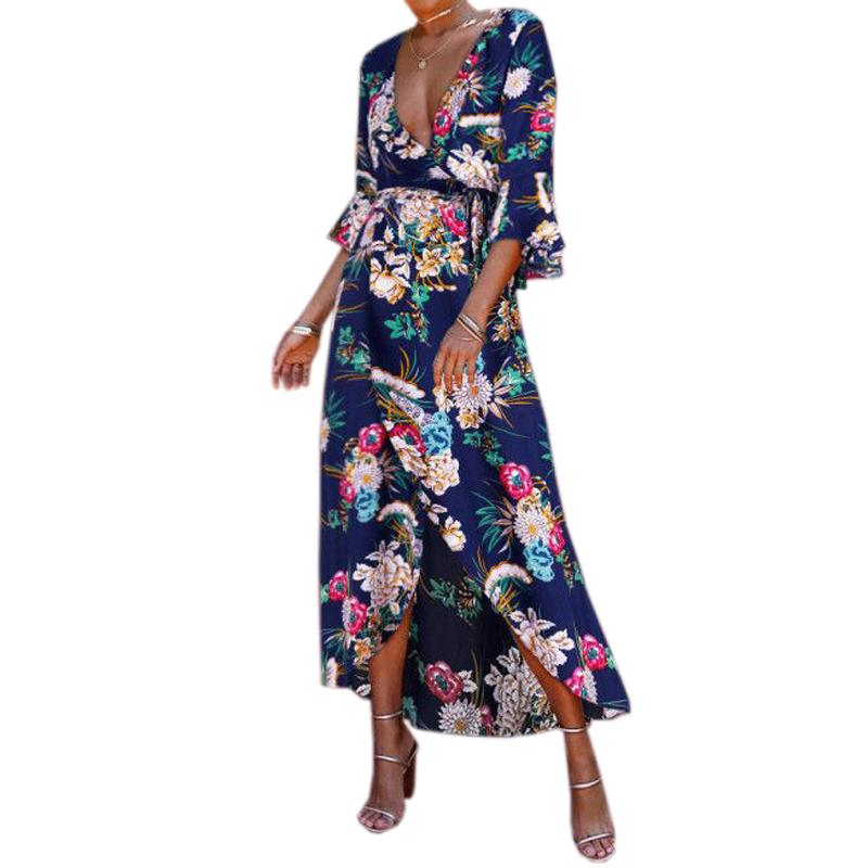 d395b81eb111 Beach Boho Summer Dress 2019 Women Flare Sleeve V Neck Maxi Long Dress Sexy  Split Printed Floral Sundress Plus Size Sashes GV644 Dresses For Party  Dresses ...