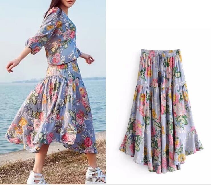 826044c536e1 2019 Long Boho Skirt Women 2018 New Summer Beach Wear Violet Color Floral  Print Elastic Waist Tassle Holiday Seaside Casual Bohemian Skirts Dress  From ...