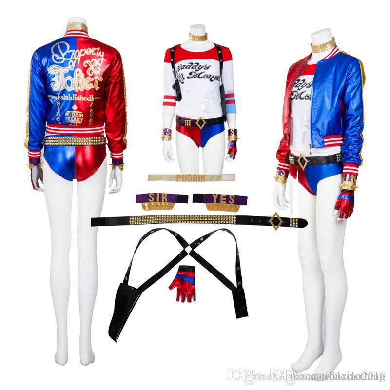 Suicide Squad Joker Halloween Costume.Joker Suicide Squad Harley Quinn Cosplay Costume High Quality Full Set Any Size For Unisex Halloween Party Clothing