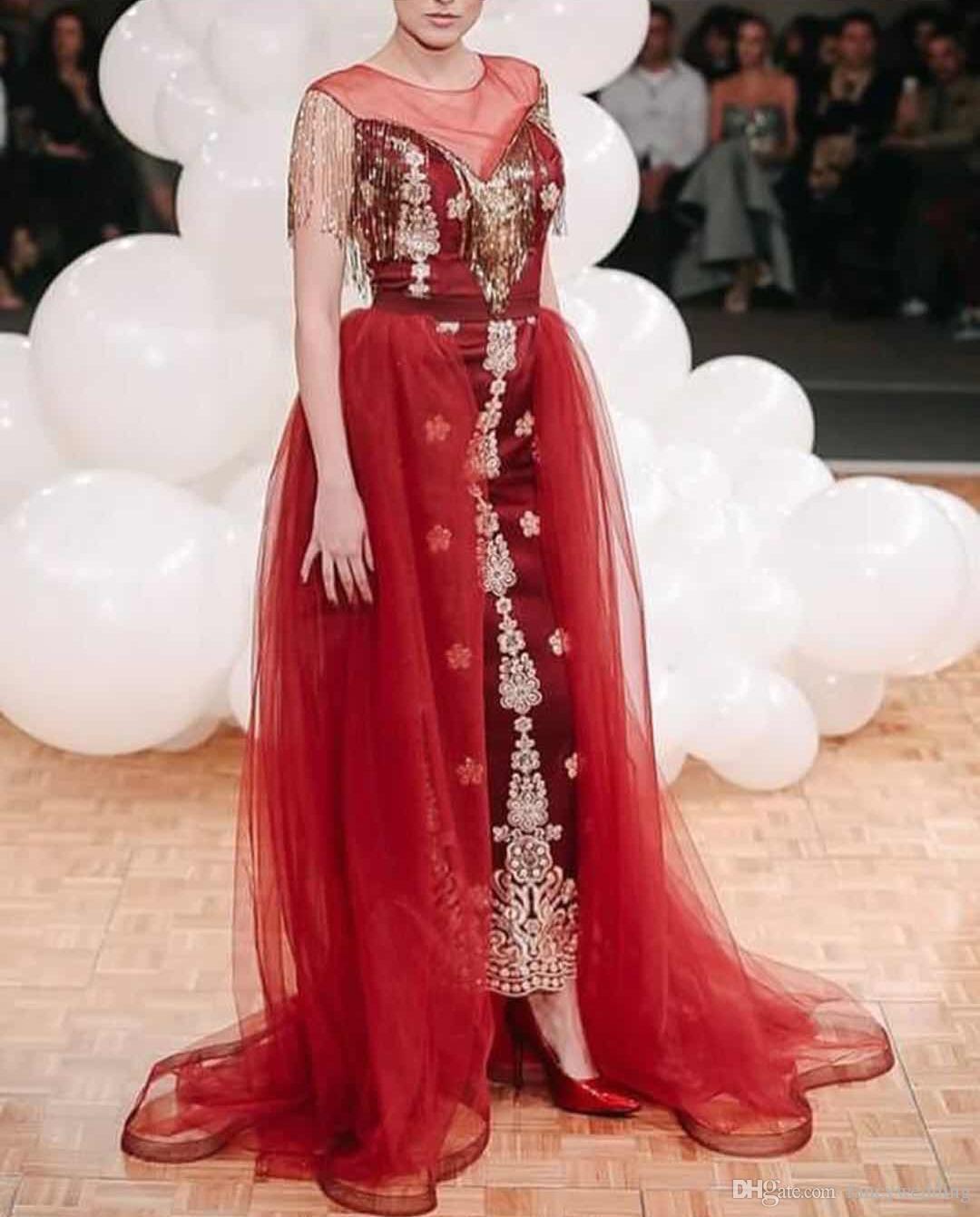 Jewel Sheer Арабский Тюль Аппликации Кисточкой Красный Развертки Поезд Многоуровневое Элегантный Гламурный Вечернее Платье Специальный Случай Платье