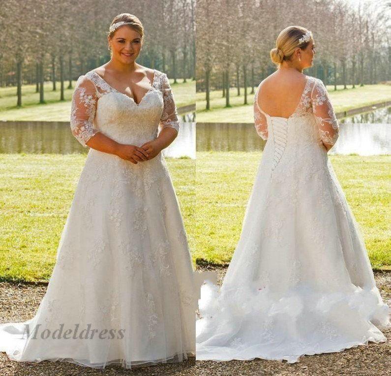 Robes De Mariée Grande Taille Pour Femmes à Lacets Dos 34 Manches Longues Col V Une Ligne Appliques De Dentelle Robes De Mariage Pays Magnifique