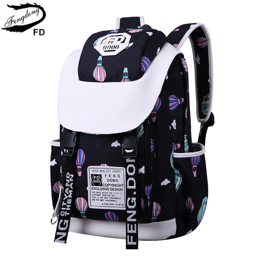 012aaf345f9b Fengdong School Bags For Teenage Girls Back Pack Cute Ballon Printing  Waterproof Backpack Schoolbag Kawaii Backpacks Woman 2018 School Bags For Kids  Girls ...