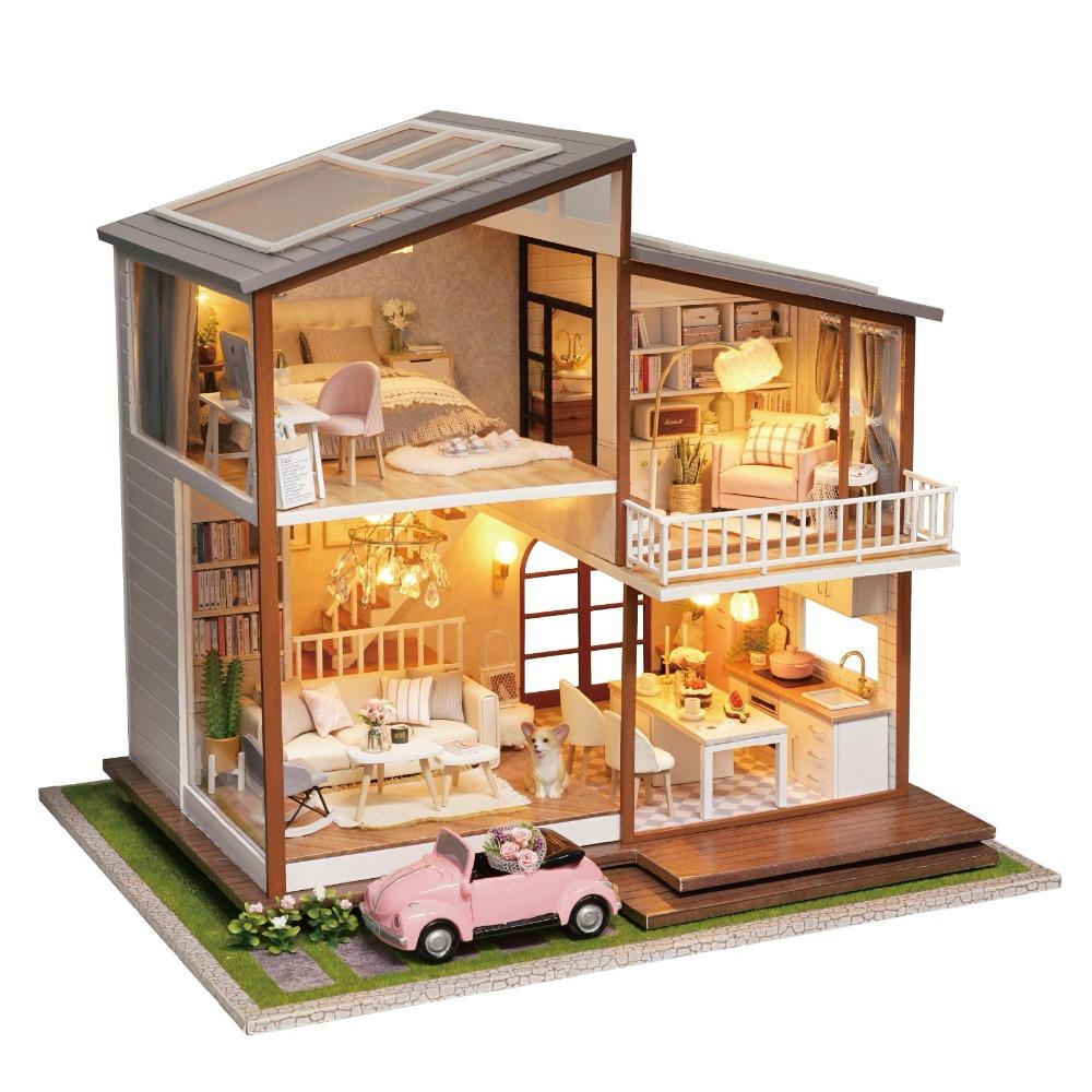 Wooden DIY Doll House Furniture Miniature Dollhouse Puzzle Assemble 3D  Miniaturas Doll House Model Kits Toys For Children Gifts