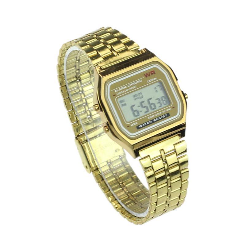 Digitale Uhren Geschäfts Goldene Uhr Coperation Vintage Frauen Männer Kleid Edelstahl Led Digital Alarm Stoppuhr Armbanduhr Wasserdicht