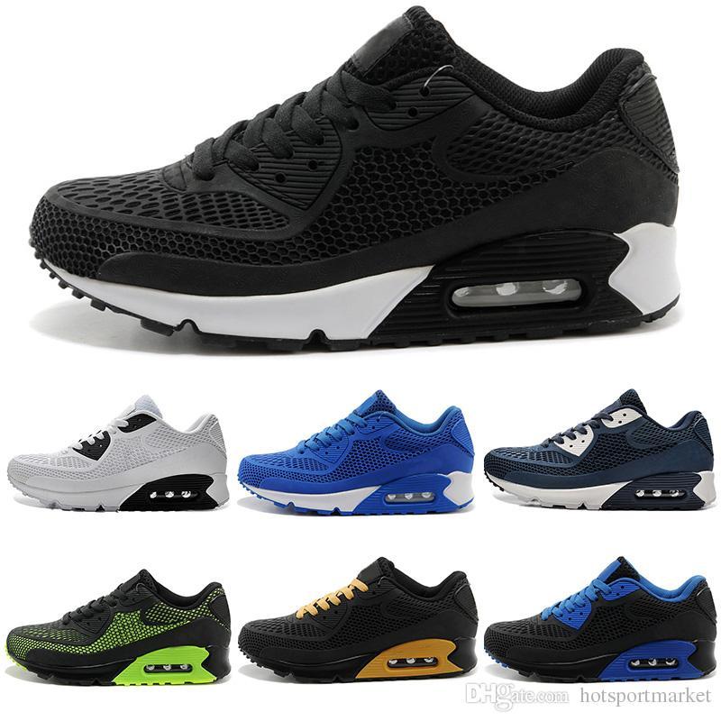 new style 079d7 89355 Compre 2017 Nuevos Zapatos Corrientes Air Cushion Nike Air Max 90 KPU  Hombres Mujeres Zapatillas De Deporte De Alta Calidad Baratos Todos Los  Zapatos Negros ...