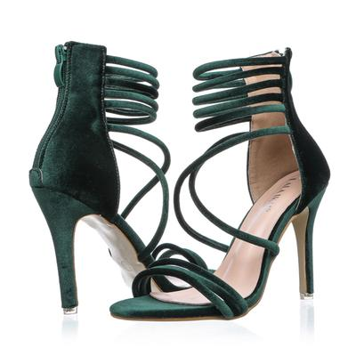 185b38c4b2a LALA IKAI 2018 Sexy High Heels Sandals Green Velvet Women Sandals Gladiator  Sandals Women Summer Party Shoes 009F1074 4 Silver Wedges Brown Wedges From  ...