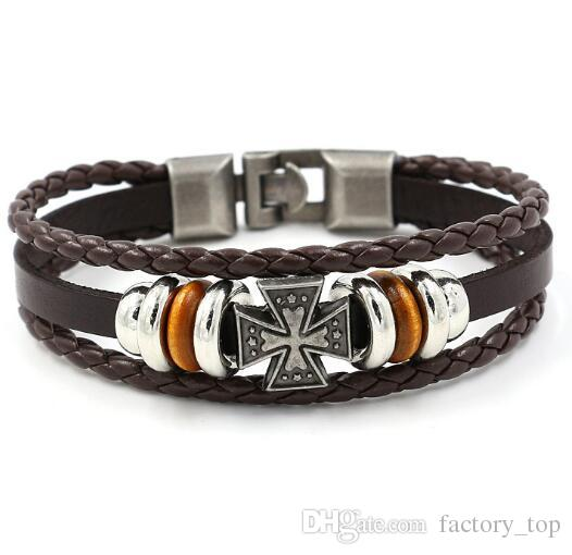 Fashion Men Cross Charm Bracelets Multilayer Braided Christian Leather Bracelets Faith Bangles Couples Cuff Jewelry Gifts