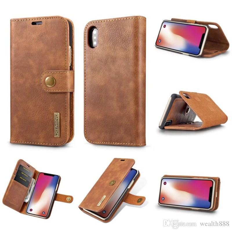 Vintage Genuine Leather Case for Phone X 8 7 6S Plus Detachable Flip Wallet Purse Cover for Samsung Galaxy Note 8 S8 Plus