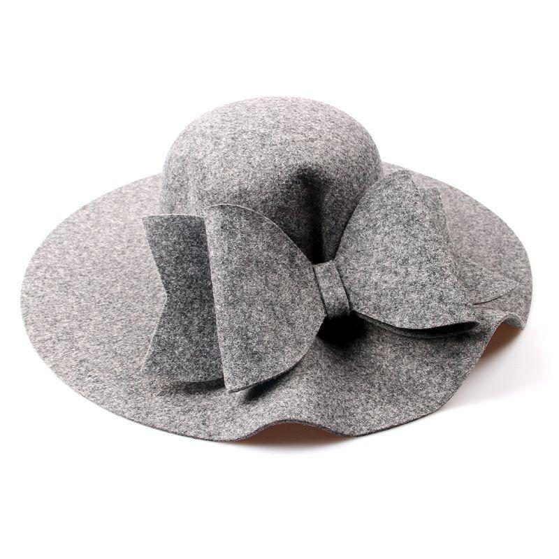 2018 New Australia Wool Felt Hat England Women Fedora Hat Wide Brim Hats  With Big Bowknot For Elegant Lady Hat Christmas GIfts D18103006 Floppy Hat  Kangol ... c2a7f83e9899