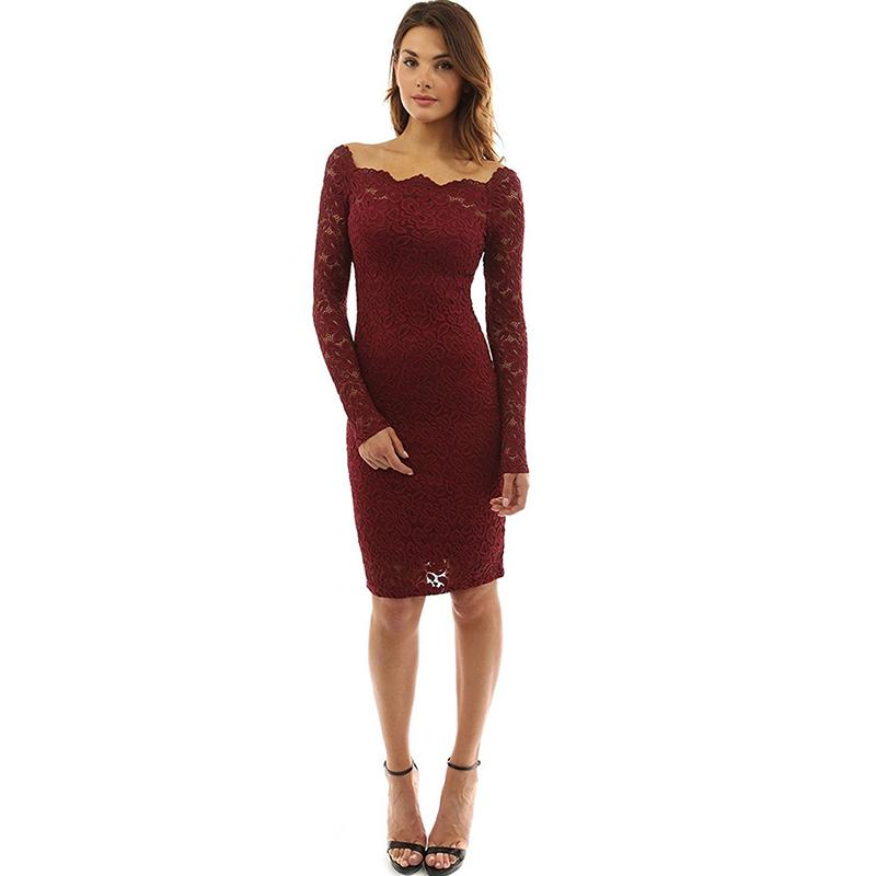 16efd6d14cf4 Knee Length Lace Dress Women Summer Long Sleeve Dresses Sexy Wine Red  Elegant Party Off Shoulder Dress For Women Pencil Vestidos White Teenage  Dresses Gold ...