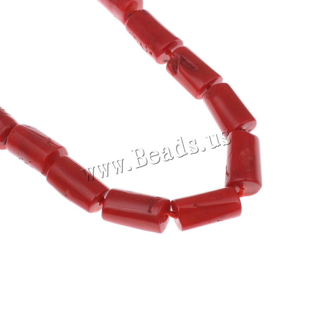 YYW латунь Застежка 14-21 мм Красный столбец 18 дюймов / 45 см длина натуральный красный коралловый камень бисером ожерелье женские ювелирные изделия колье ожерелье