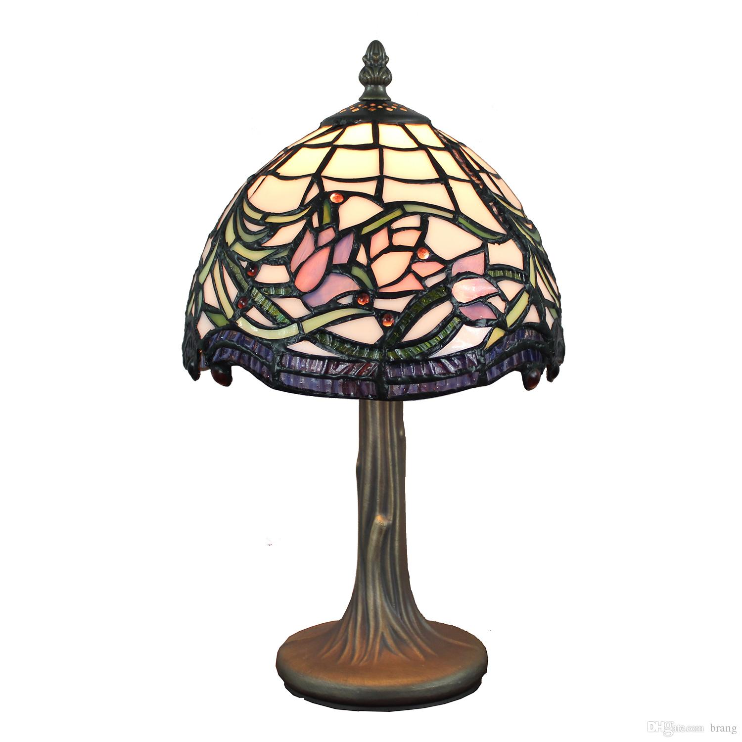 Tiffany-Style Lamp Stained Glass Table Lamp Hand Crafted Wild Vine Lotus Design Accent Lamp Bedside Table Light