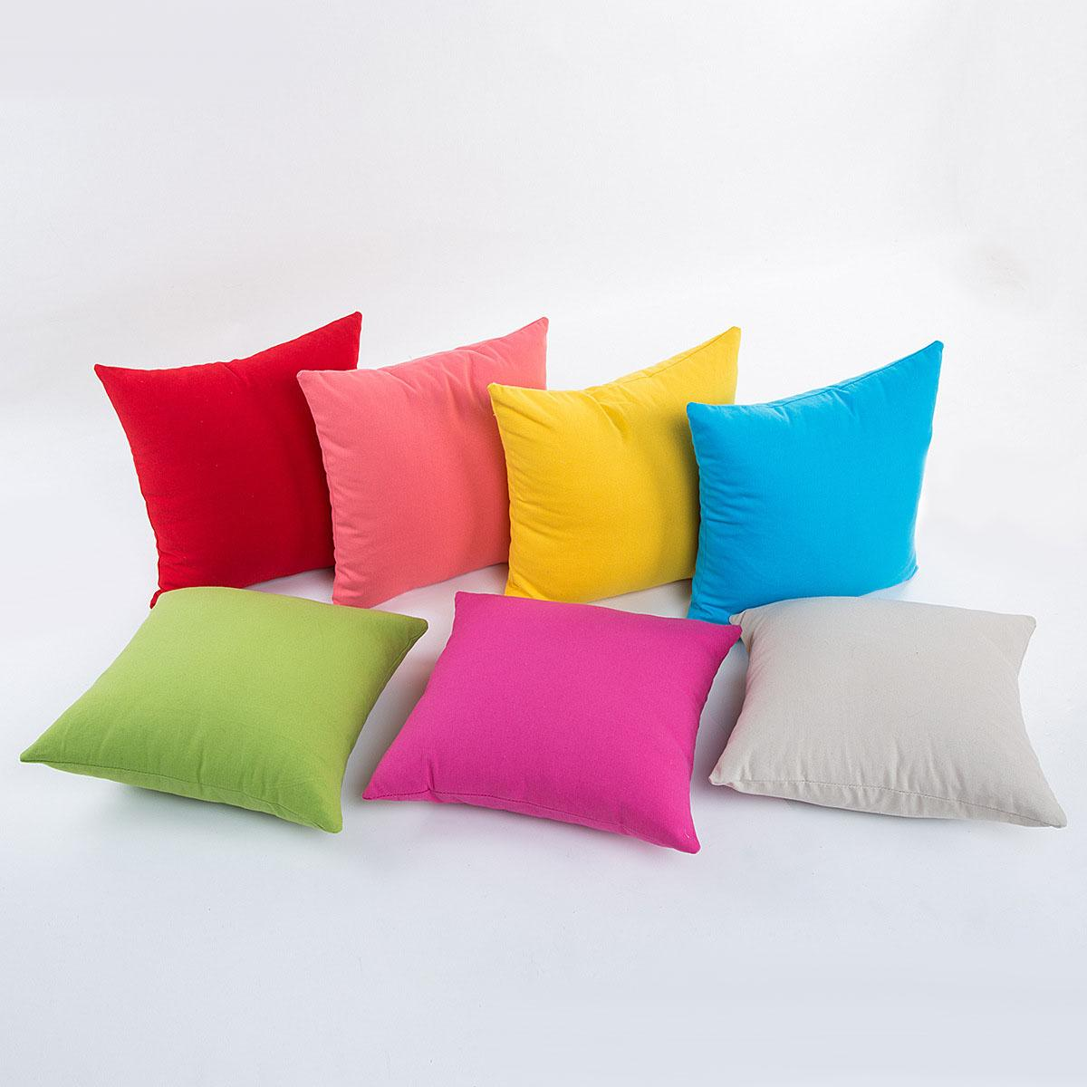 84f240838d9 Solid Square Pillowcase Decorative Pillow Cover Sofa Seat Car Cushion Cover  Pure Cotton Candy Color 45x45cm Throw Pillow Case Outdoor Chair Cushions ...