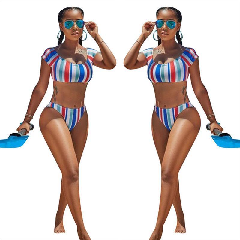 3bd47437faf5 2019 2018 New Summer Women Striped Split Swimsuit Bathing Swim Suit Sexy  Bodycon Bikini Leisure Two Piece Swimwear Cute Tankini Monokini From  Sexystores520