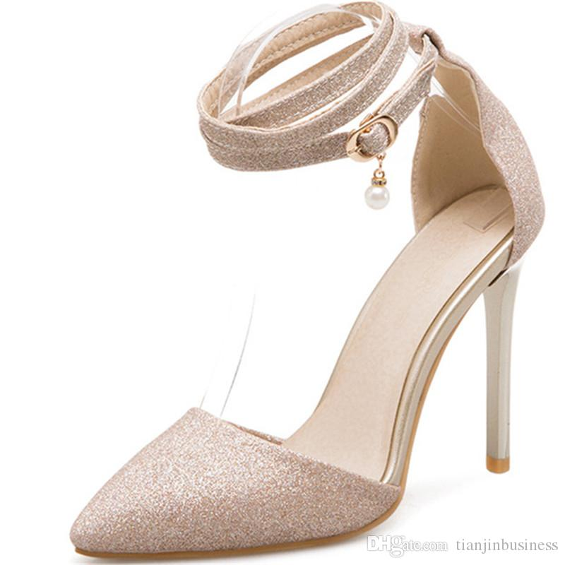 7844f7c5c5 2018 New Style Sandals Sequined Cloth Women Pumps Red Sexy Party Wedding Shoes  Pointed Toe Buckle High Heels Shoes Woman Silver Shoes Mens Sandals From ...