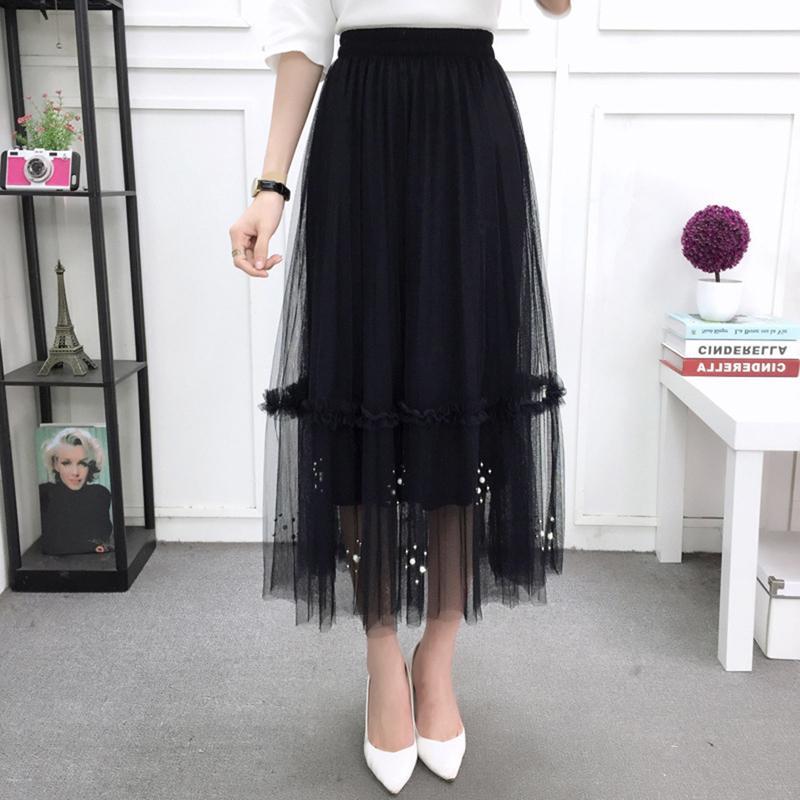 851173cdf0 Beading Skirt Women 2018 Spring Autumn Mesh Beading Skirt Female Silver  Pearl Beading Tutu Elastic Waist Pleated Mesh Skirt Online with  35.0 Piece  on ...