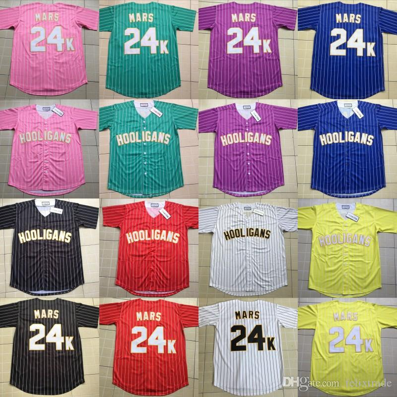 2019 Bruno Mars 24K Hooligans Baseball Jersey Yellow Red Pink Purple Black  White Blue Green Stripe All Stiched For Men Women Youth From Felixtrade ce36bf1fc1