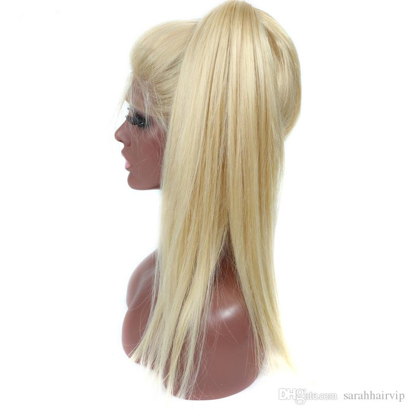 Full Lace Human Hair Wigs Lightest Blonde 613 Peruvian Hair Straight Gluless Lace Front Human Hair Wigs for Women