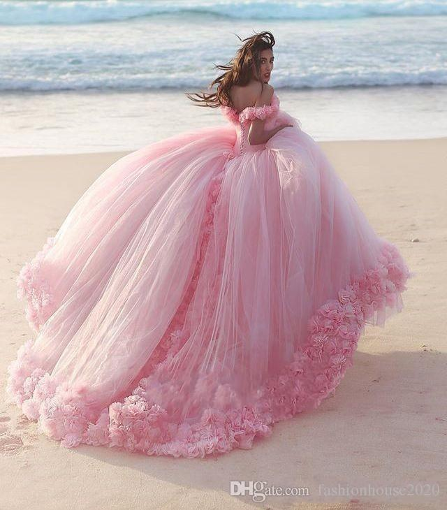 2018 New Romantic Pink Ball Gown Wedding Dresses 3D Rose Flowers Puffy Off Shoulder Backless Beach Court Train Princess Bridal Party Gowns