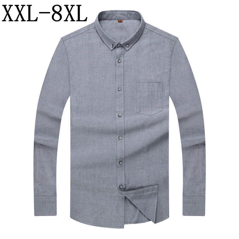 43beabb6da9 2019 8XL 7XL New Autumn 2018 Pure Color 100% Cotton Men Dress Shirt Long  Sleeve Classisc Work Wear Brand Business Mens Oxford Shirt From Bairi