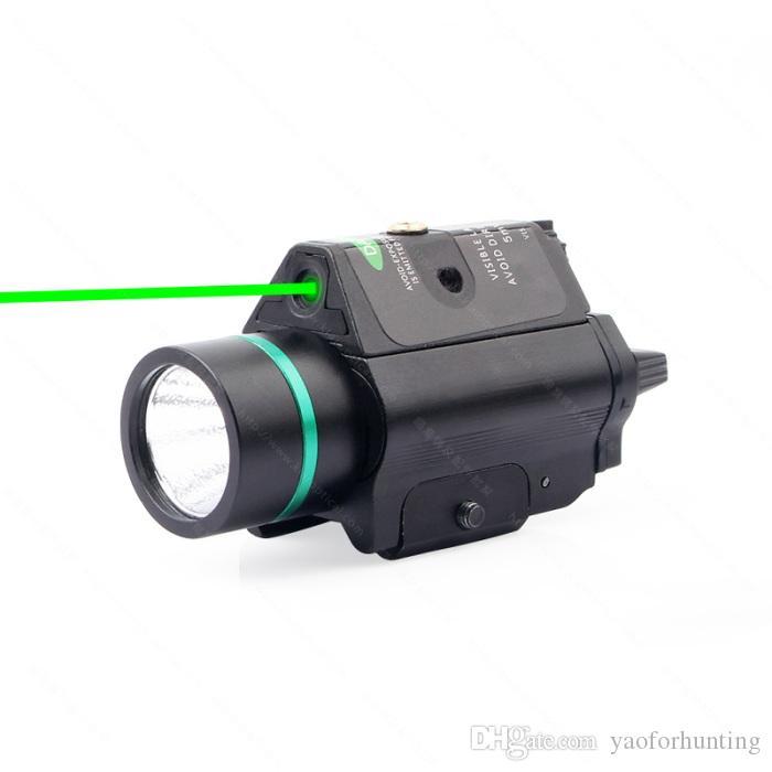 Torcia tattica 2 in 1 M6 CREE LED Gun Light Green Laser Combo con guida nera Picatinny