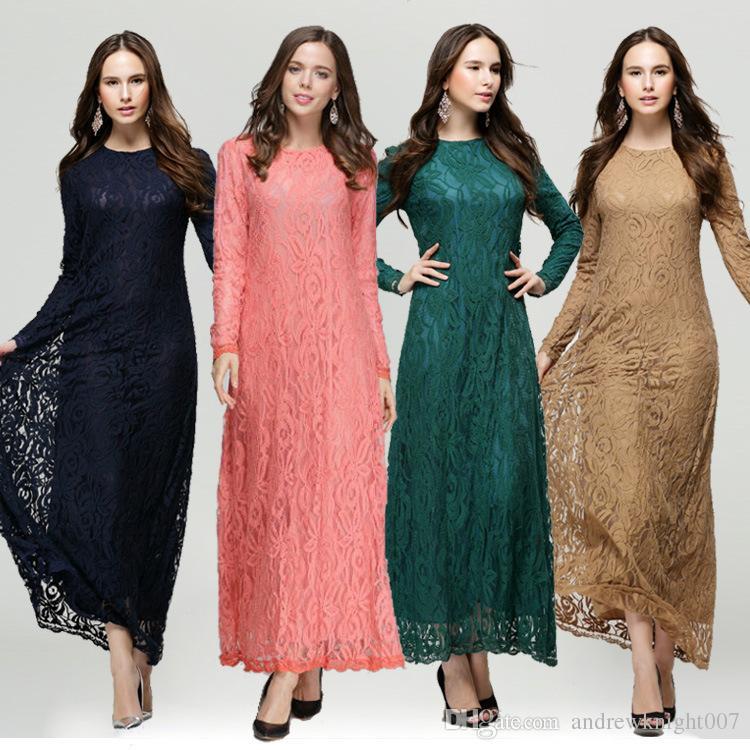 Rendas Vestidos Árabes Muçulmanos Moda Feminina Abaya Kaftan Vestido Islâmico Manga Comprida Ladies Maxi Vestido Verde Preto Rosa