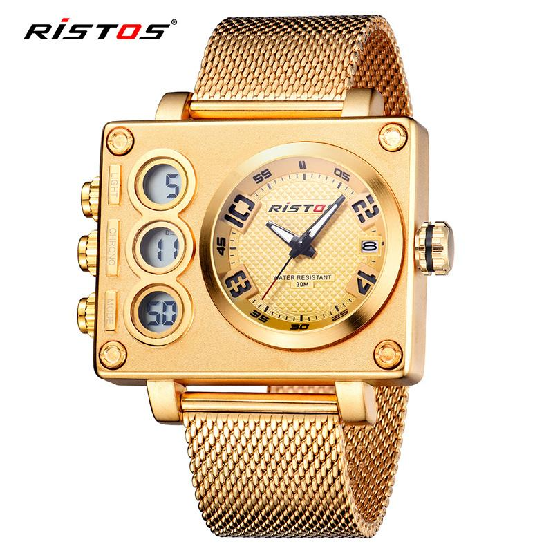 742d00feccce RISTOS Male Fashion Wristwatch Relojes Masculino Top Chronograph  Multifunction Men Sports MeSh Steel Analog Watches Digital 9362 Watch  Online Shopping Shop ...
