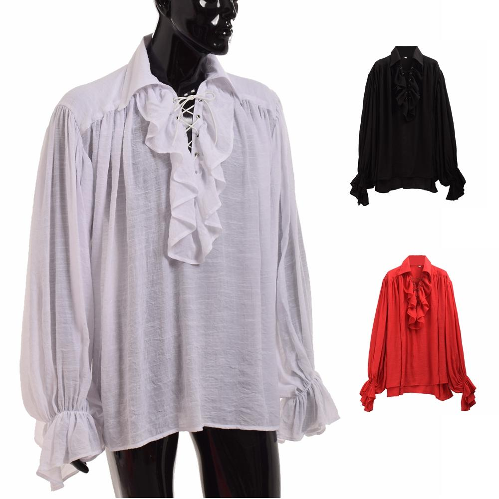 a4096a3494ead4 2019 Vintage Men White Ruffled Pirate Shirt Medieval Renaissance Poet  Vampire Colonial Jabot Blouse Long Sleeve Clothing From Beltloop, $41.12    DHgate.Com