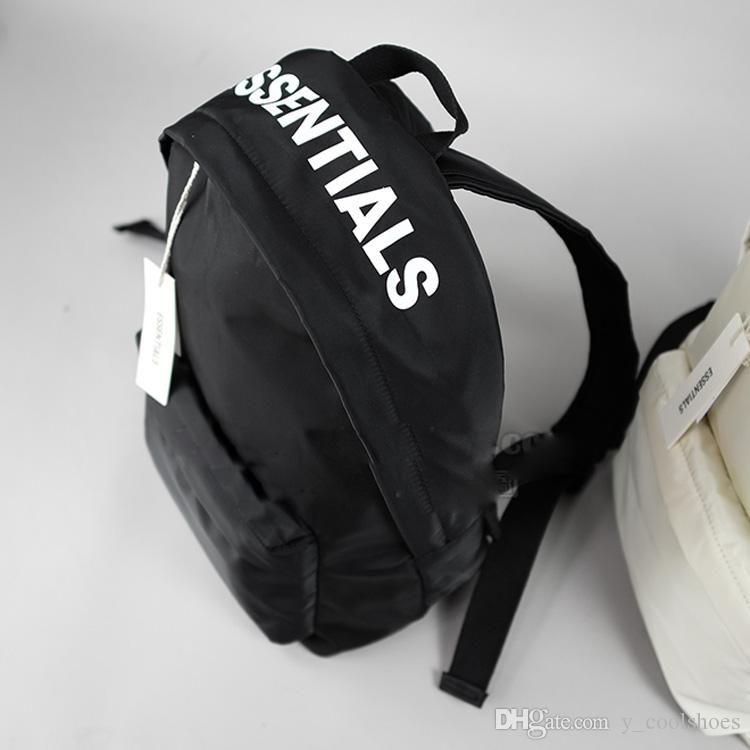 8a90d3888a Fear Of God FOG Essentials Printed Nylon Backpack FOG Shoulder Bag Kanye  West Fashion Couple School Bags Black Sport HFLSBB072 Travel Backpacks Small  ...