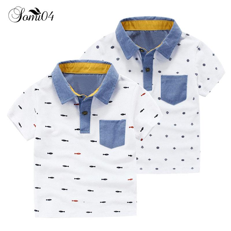 bc9ec337 2019 Kids Boys White Polo Shirts Style Fashion Summer 2018 Children Cotton  Short Sleeve Clothes Toddler Pattern Fish Snow Polo Shirt From Runbaby, ...