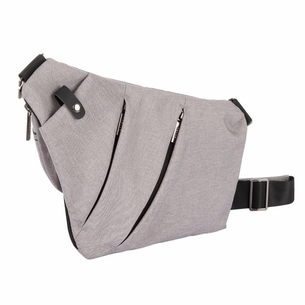 OSOCE Ultra Slim Shoulder Chest Bag Men s Crossbody Sling Satchel Messenger  for 7.9 IPad Color Gray Black   Silver Waist Packs Cheap Waist Packs OSOCE  Ultra ... 03d3f1c3c810