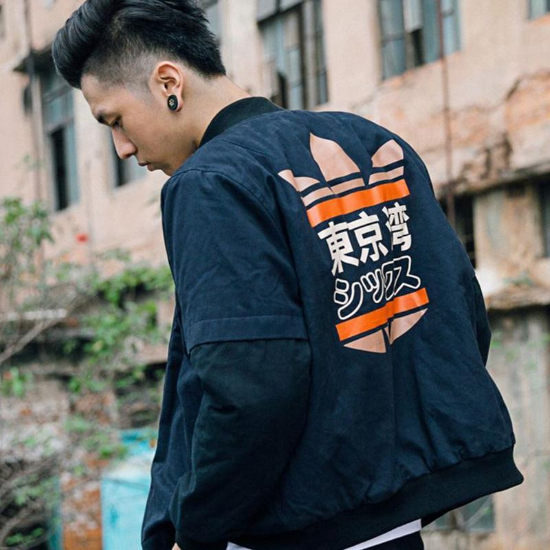 2018 Spring MA1 Men Bomber jacket Tokyo Bay printing Outwear Japan Military Flight Pilot jackets male Coat College Outerwear