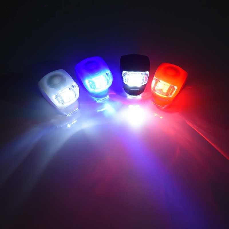 wEnBU Impermeabile LED Testa Anteriore Ruota Posteriore Bicicletta Bicicletta Ciclismo Testa in Silicone Ruota Anteriore Posteriore Luce di Sicurezza Lampada Nera