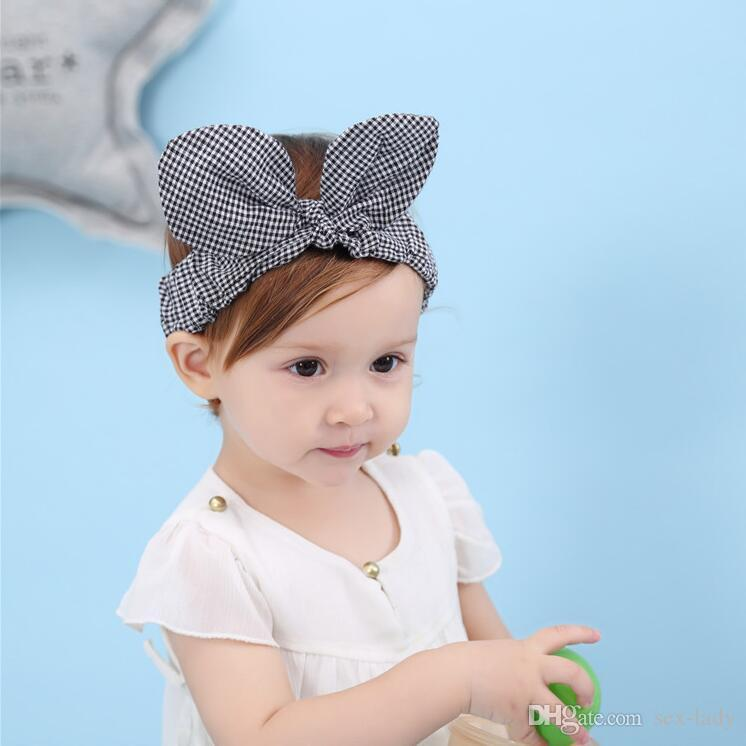 Kids Black lattice hairband Children rabbit ears hair band Fabric Girls Bow knot Headbands Bebes Hair accessories Photo prop