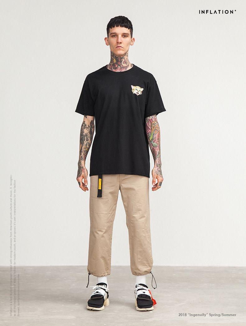 2018 Summer New Printing Man Tshirts Short-sleeved Tide Brand Evil Cat Claw Mark Tees English High-precision Mens T-shirt