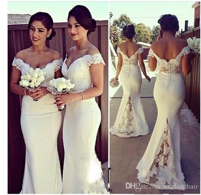 2018 Cheap Long Bridesmaid Dresses Lace Off Shoulder Mermaid Sweep Train Formal Dresses for Women Covered Button Back