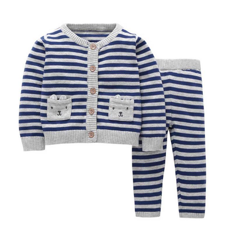 7ee7f624042d Winter Style All Match Striped Long Sleeved Sweater Cardigan Set No ...