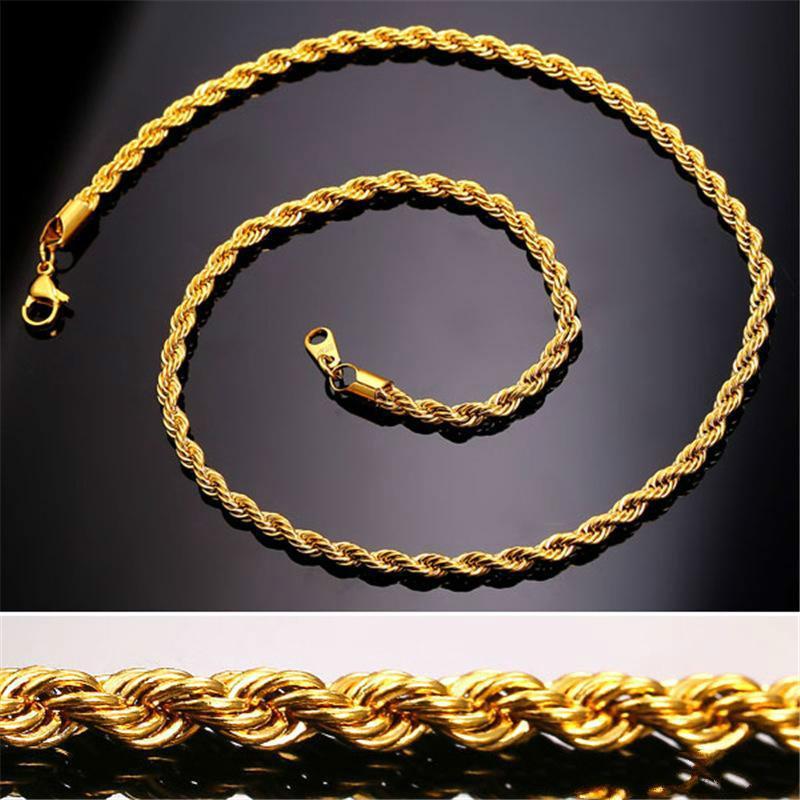 5ef776d1dd8c Compre 18 K Oro Real Chapado En Acero Inoxidable Collar De Cadena De Cuerda  Para Hombres Cadenas De Oro Joyería De Moda Regalo Kka2037 A  3.02 Del  Queqin ...