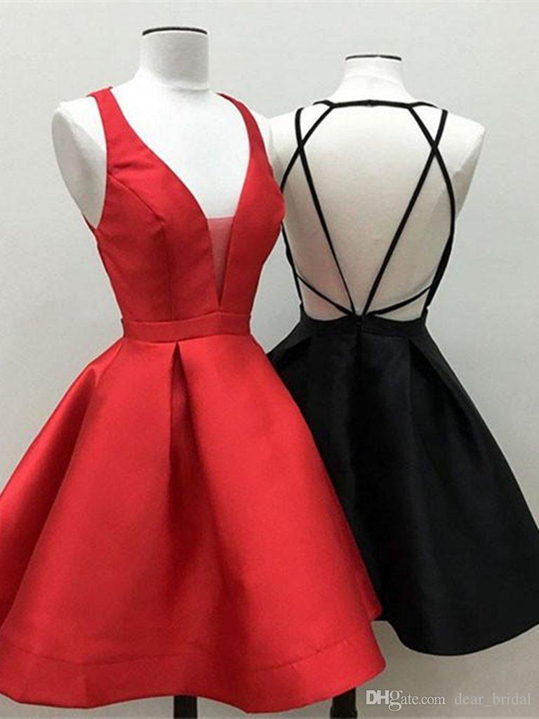 89f0f55cb Compre Juvenil 2018 Una Línea Corto Rojo / Negro Vestido De Fiesta, Corto  Rojo / Negro Vestido De Graduación Vestidos De Fiesta Vestidos De Fiesta A  $63.52 ...