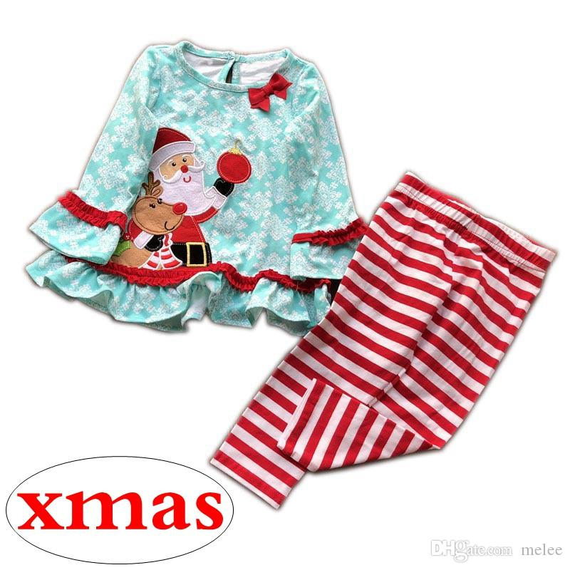 xma christmas girls blue santa dresses baby big bow snowman long sleeved dresses & kids red white striped pp pants 2pcs set 0-5years