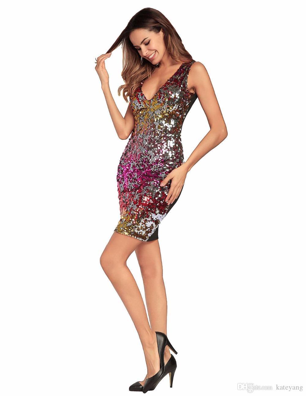 Primavera Mulheres bloco de cor lantejoula Vestido Sexy V Pescoço multi-cor Brilhante Brilhante Vestido Elegante Curto Vestidos de Festa clubwear