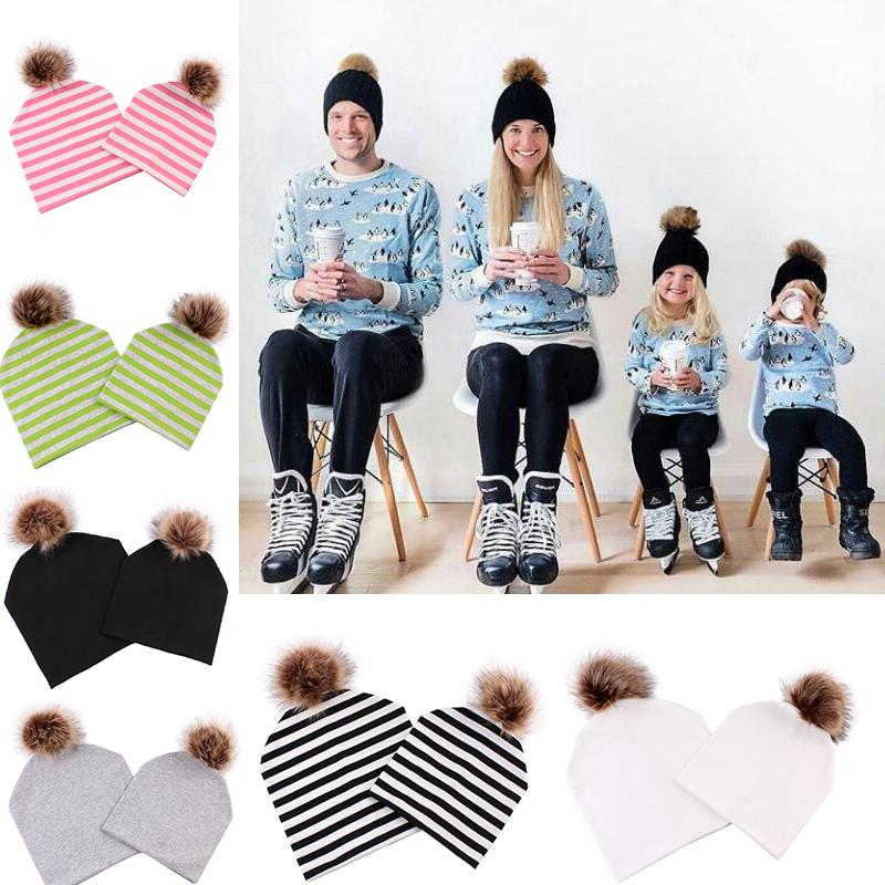 2019 Mommy And Me Hat Ball Pompom Bobble Hat Mom And Baby Matching Beanie  Hats Winter Warm Women Kids Cotton Girls Caps From Peachguo b2aae8d1d84