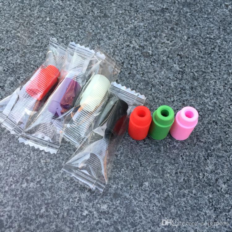 Embalagem individual 510 ponta de teste de Silicone Bocal Descartável Ponta De Gotejamento Colorido de Borracha De Silicone Dicas de Teste Tester dicas de gotejamento para o tanque e cig