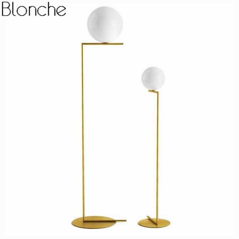 hot sale online 18d6c 1799c Nordic Simple Floor Lamps Glass Ball Standing Lamp Gold Light for Living  Room Bedroom Creative Art Home Decor Lighting Fixtures