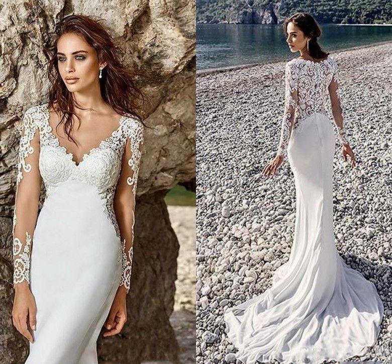 Vintage Style Mermaid Beach Wedding Dresses Sheer Long Sleeveless ...