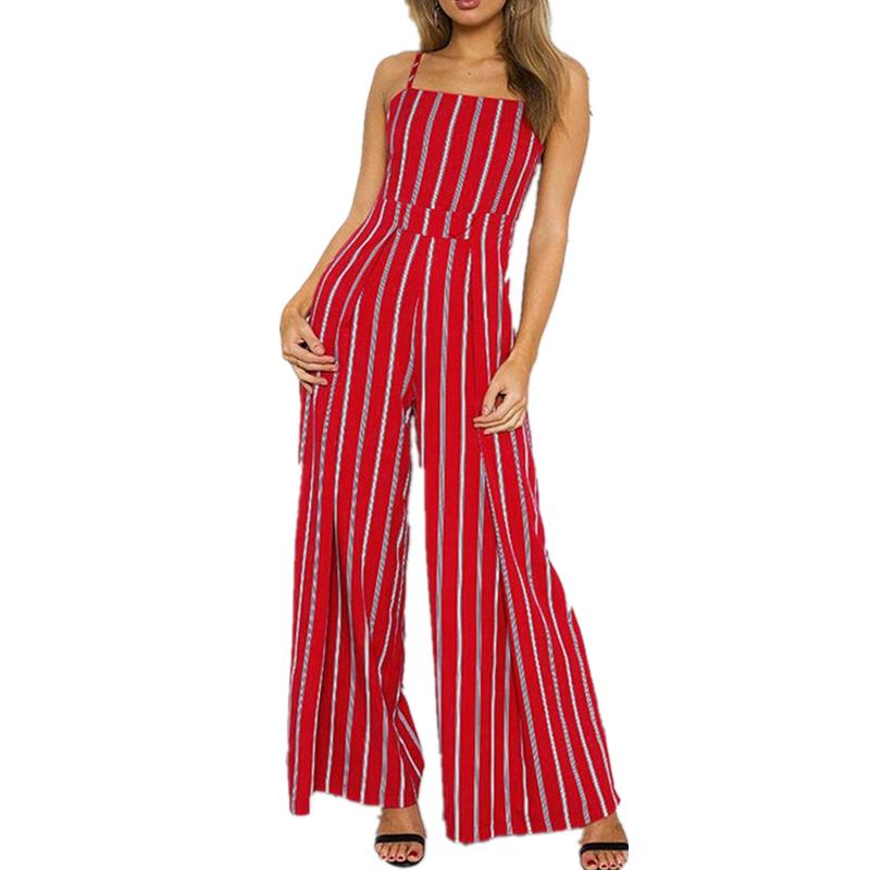 45aa93edcd 2019 2018 Red Summer Jumpsuits Strapless Striped Stitching Printed Wide  Legs Jumpsuit Playsuits Backless Loose Long Female Bodysuits From  Qingyun1996