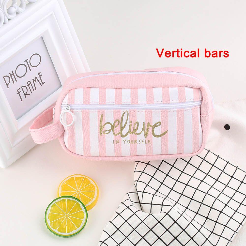 ALTA CALIDAD de gran capacidad Kawaii Grid Pink Pouch Canvas Pencil case Chancery School Stationery School Supplies Cosmetic Bag