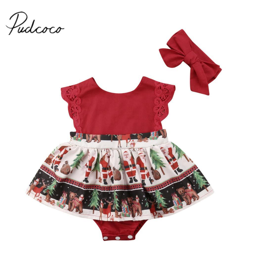 af397de1fbef 2019 2018 Brand New Christmas Toddler Baby Girls Santa Romper Dress Lace  Sleeve Ruffles Jumpsuits Claus Print Playsuit Dress+Headband From Humom